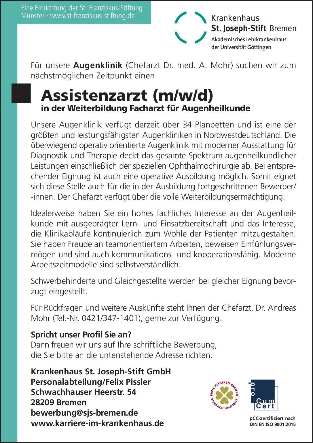 Krankenhaus St. Joseph-Stift GmbH Assistenzarzt (m/w/d) in der Weiterbildung Facharzt für Augenheilkunde Augenheilkunde Assistenzarzt / Arzt in Weiterbildung
