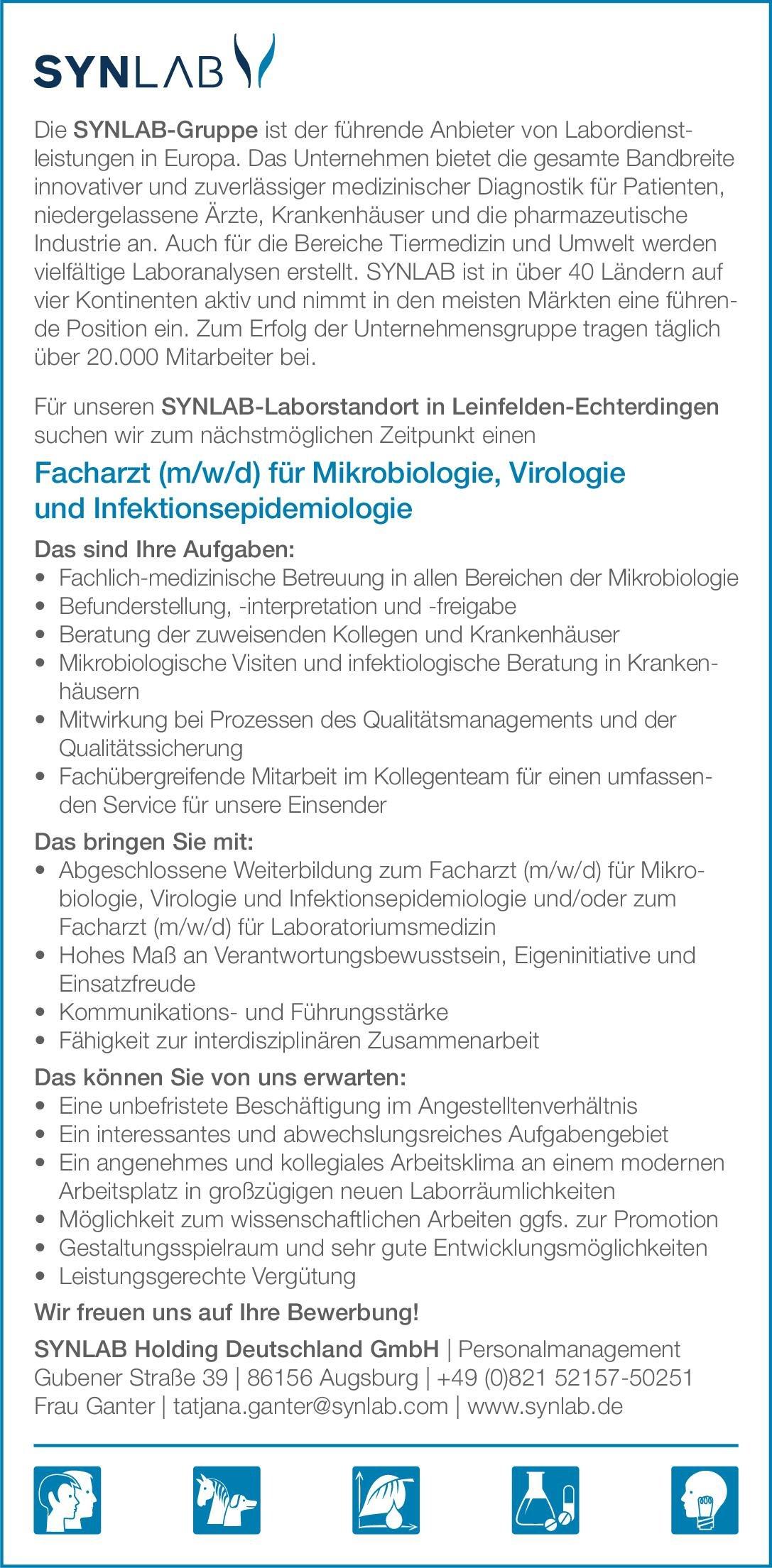 SYNLAB Holding Deutschland GmbH Facharzt (m/w/d) für Mikrobiologie, Virologie und Infektionsepidemiologie Mikrobiologie und Infektionsepidemiologie Arzt / Facharzt