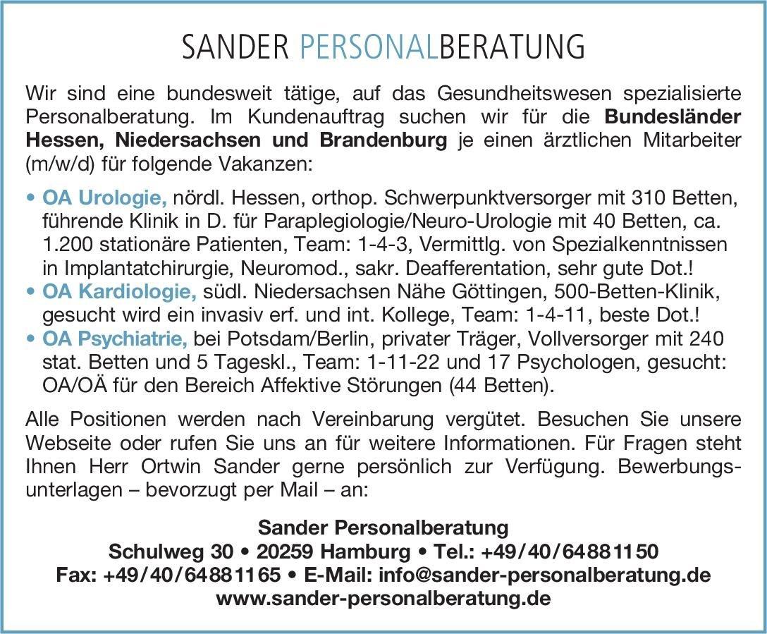 Sander Personalberatung OA Psychiatrie  Psychiatrie und Psychotherapie, Psychiatrie und Psychotherapie Oberarzt