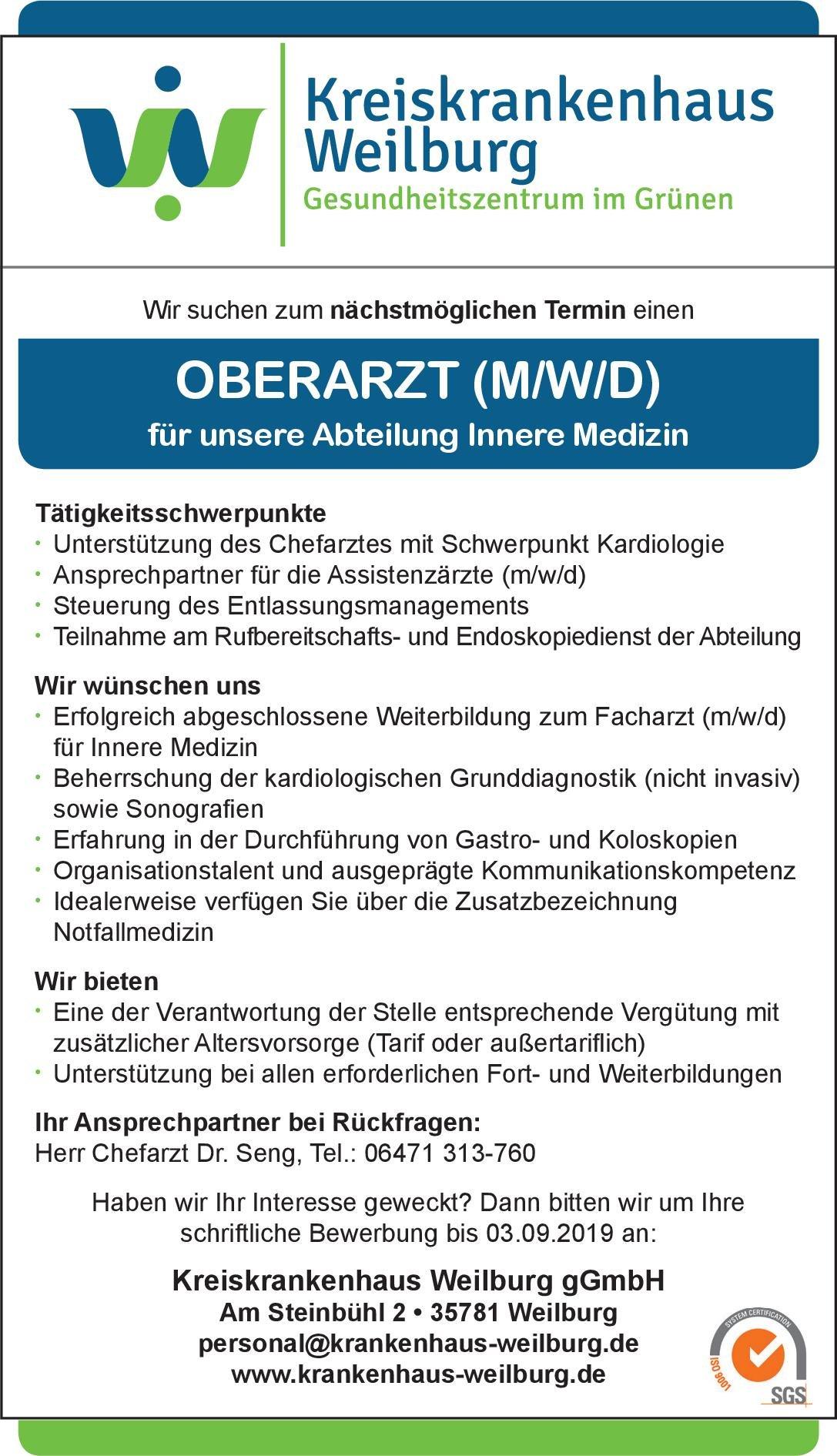 Kreiskrankenhaus Weilburg gGmbH Oberarzt (m/w/d) Innere Medizin  Innere Medizin, Innere Medizin Oberarzt