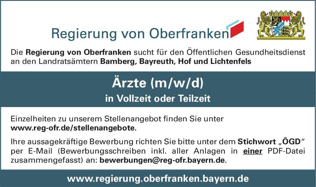 Regierung von Oberfranken Ärzte (m/w/d) für den Öffentlichen Gesundheitsdienst Öffentliches Gesundheitswesen Arzt / Facharzt
