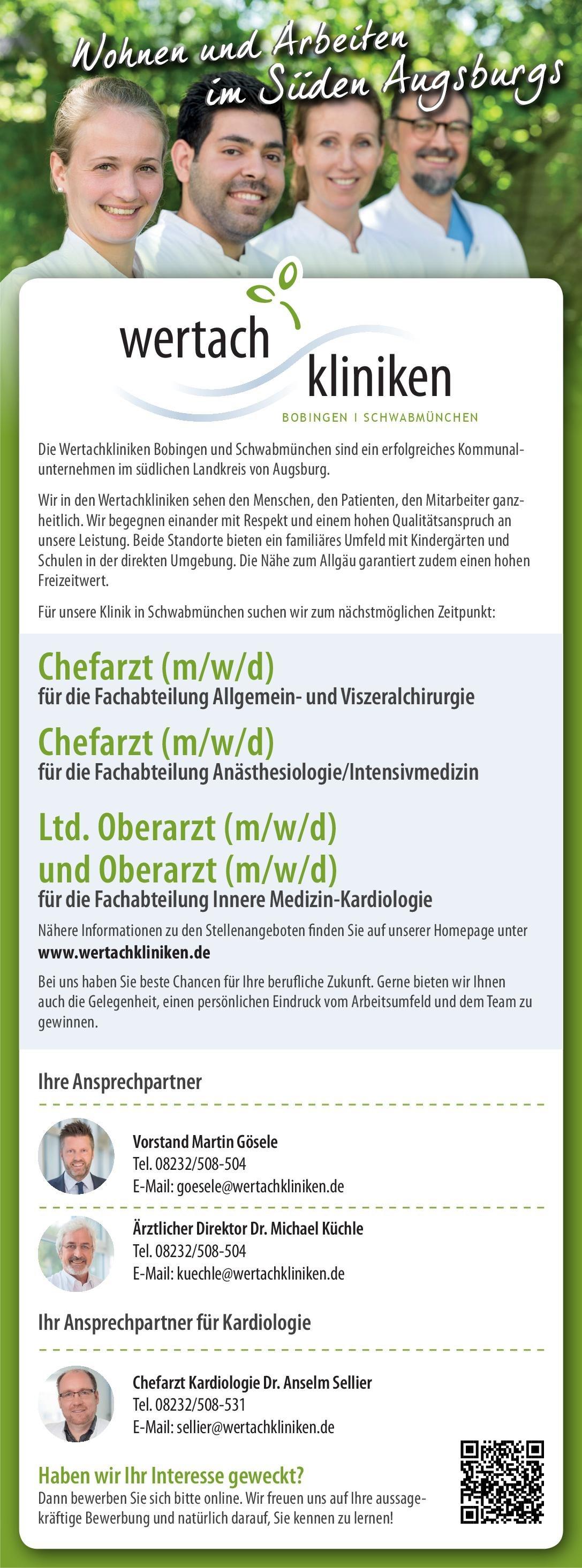Wertachkliniken Bobingen und Schwabmünchen Chefarzt (m/w/d) für die Fachabteilung Allgemein- und Viszeralchirurgie  Allgemeinchirurgie, Viszeralchirurgie, Chirurgie Chefarzt