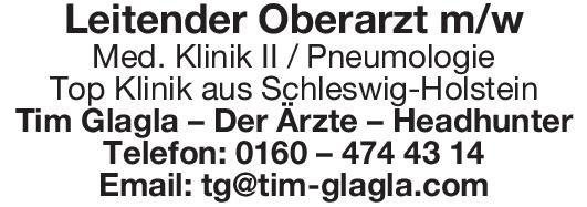 Tim Glagla – Der Ärzte – Headhunter Leitender Oberarzt m/w Med. Klinik II / Pneumologie  Innere Medizin und Pneumologie, Innere Medizin Oberarzt