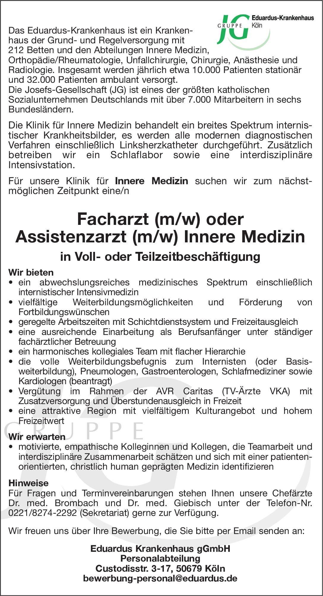 Eduardus Krankenhaus gGmbH Facharzt (m/w) oder Assistenzarzt (m/w) Innere Medizin  Innere Medizin, Innere Medizin Arzt / Facharzt, Assistenzarzt / Arzt in Weiterbildung