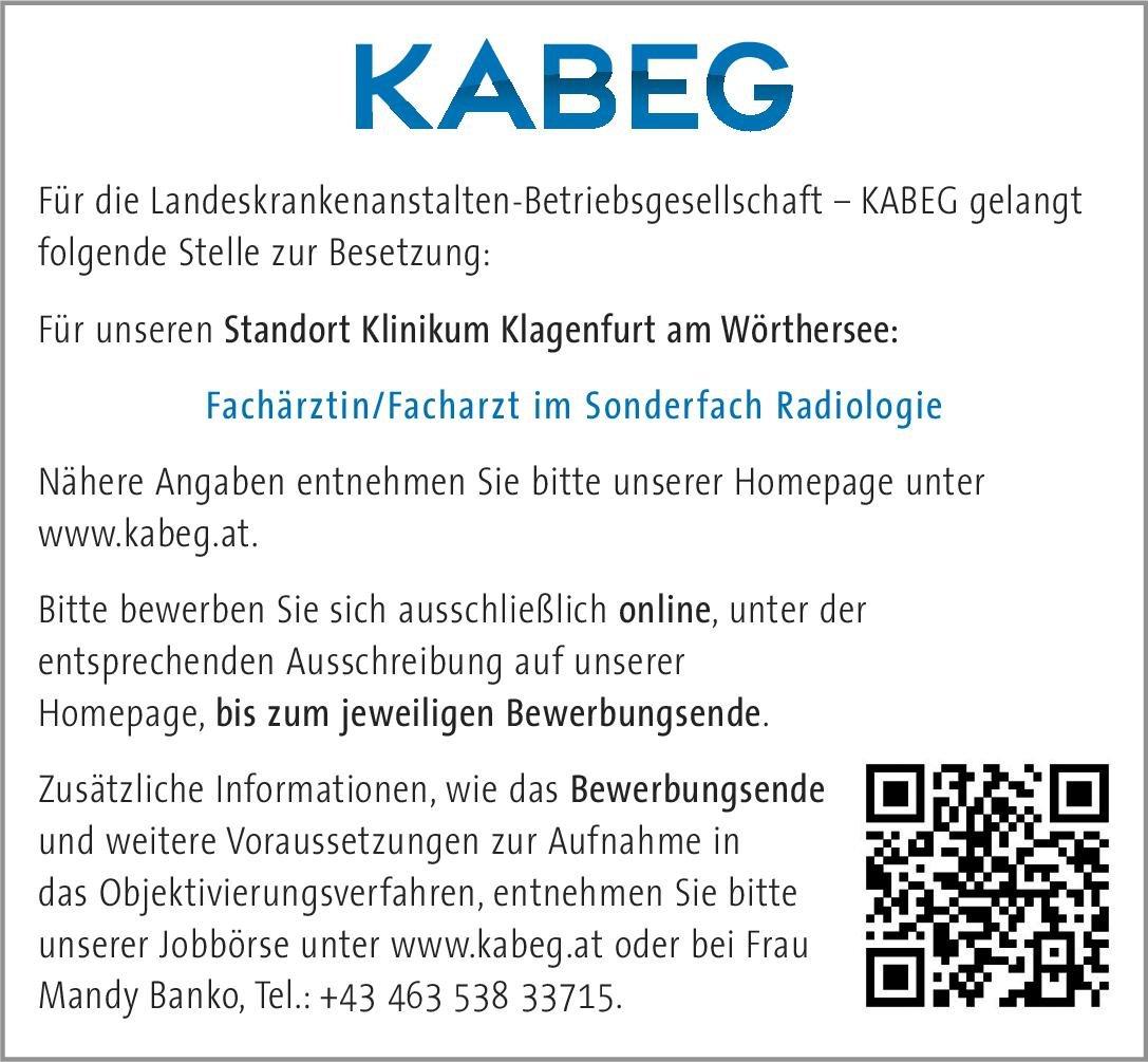 KABEG - Landeskrankenanstalten-Betriebsgesellschaft Fachärztin/Facharzt im Sonderfach Radiologie  Radiologie, Radiologie Arzt / Facharzt