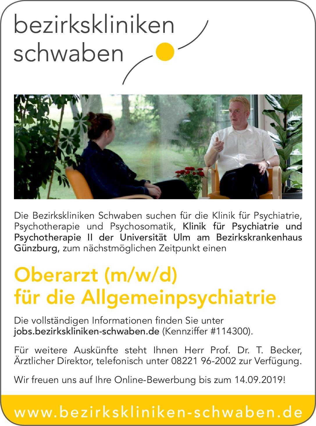 Bezirkskliniken Schwaben - Bezirkskrankenhaus Günzburg Oberarzt (m/w/d) für die Allgemeinpsychiatrie  Psychiatrie und Psychotherapie, Psychiatrie und Psychotherapie Oberarzt