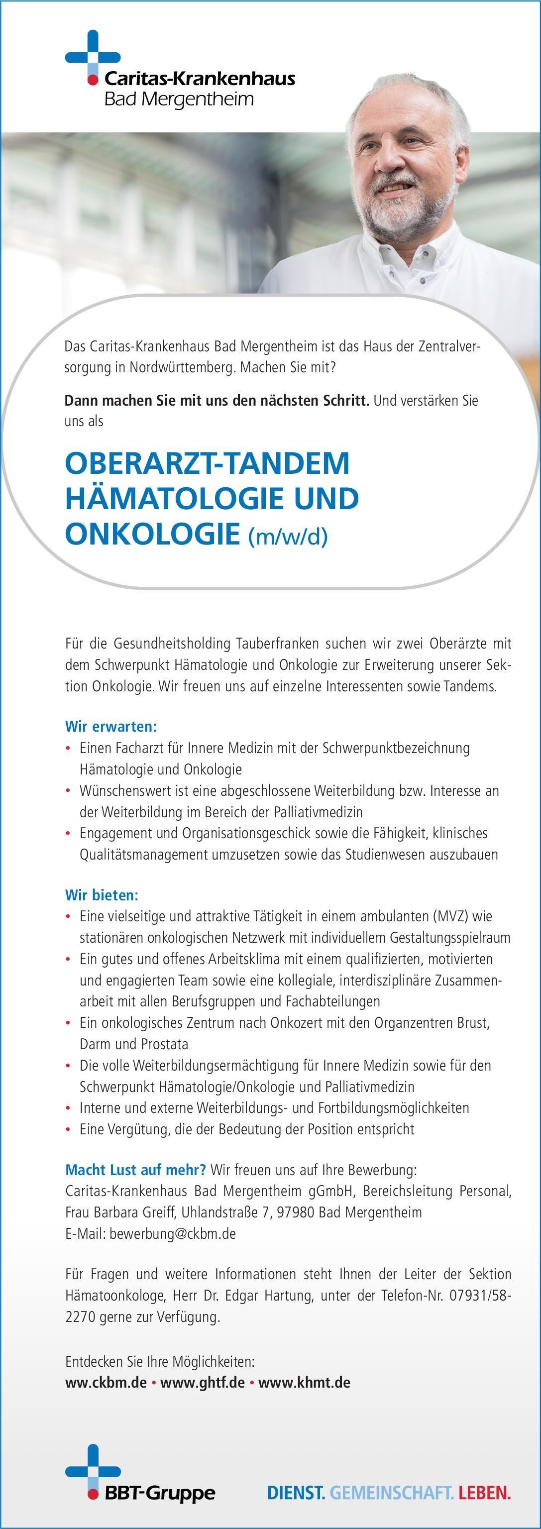 Caritas-Krankenhaus Bad Mergentheim gGmbH Oberarzt-Tandem Hämatologie und Onkologie (m/w/d)  Innere Medizin und Hämatologie und Onkologie, Innere Medizin Oberarzt