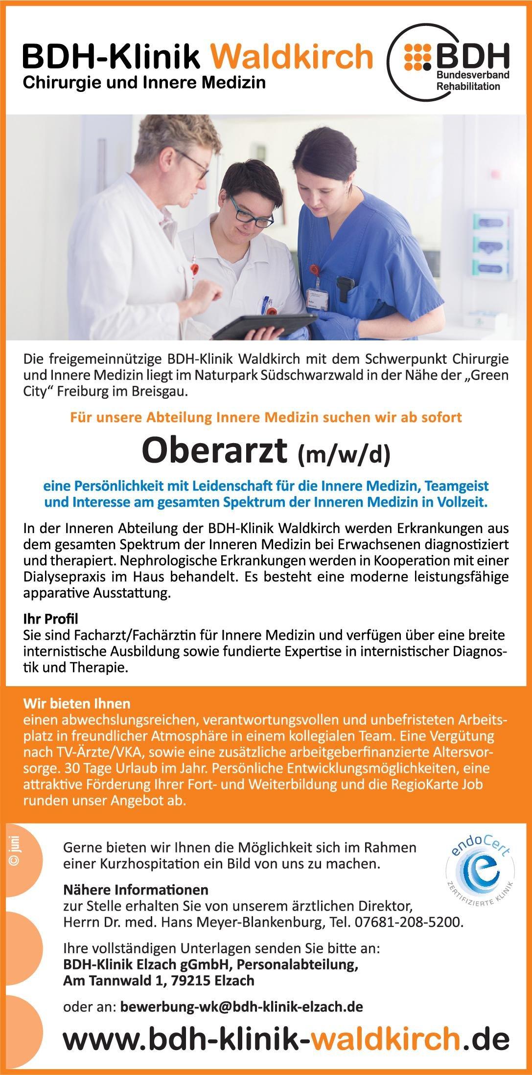 BDH-Klinik Waldkirch Oberarzt (m/w/d) Innere Medizin  Innere Medizin, Innere Medizin Oberarzt