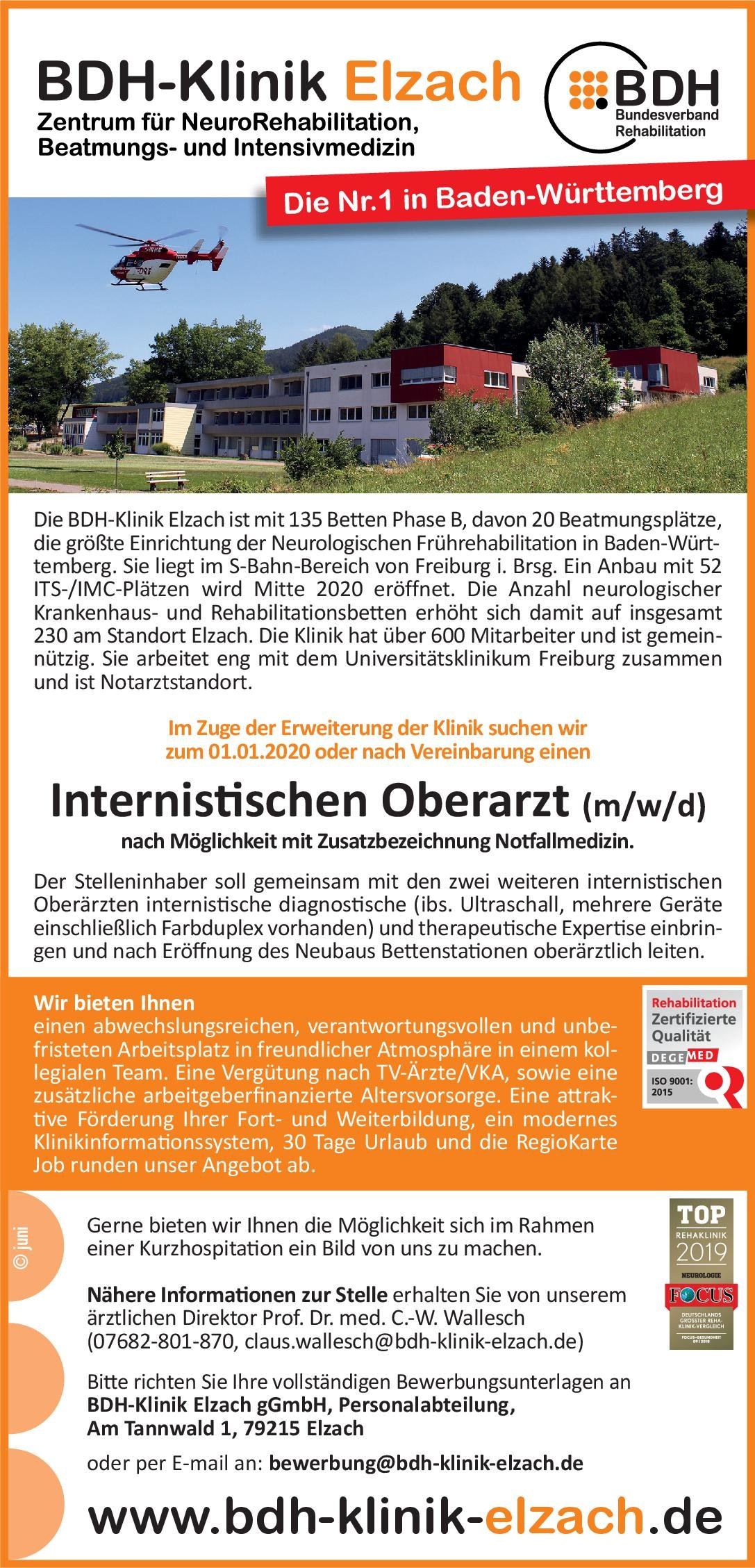 BDH-Klinik Elzach Internistischer Oberarzt (m/w/d)  Innere Medizin, Innere Medizin, Notfallmedizin Oberarzt