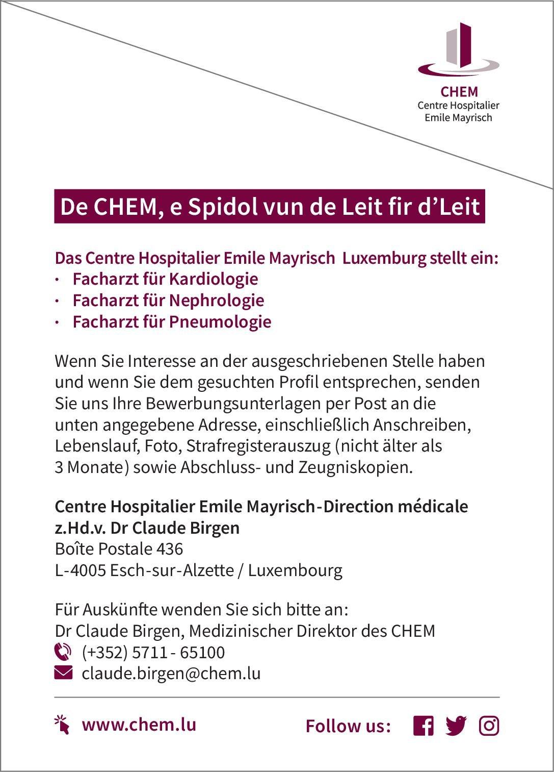 Centre Hospitalier Emile Mayrisch Facharzt für Kardiologie  Innere Medizin und Kardiologie, Innere Medizin Arzt / Facharzt