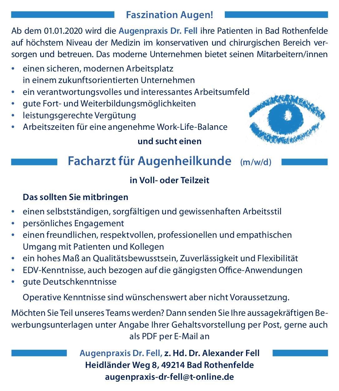 Augenpraxis Dr. Fell Facharzt für Augenheilkunde (m/w/d) Augenheilkunde Arzt / Facharzt