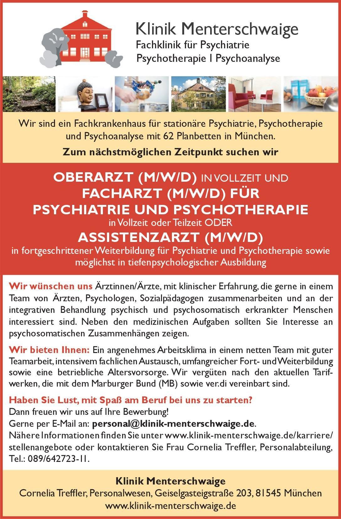 Klinik Menterschwaige Oberarzt (m/w/d) Psychiatrie und Psychotherapie  Psychiatrie und Psychotherapie, Psychiatrie und Psychotherapie Oberarzt