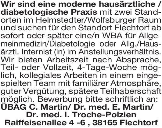 Praxis / Drs.  Martin/ Dr.I. Troche-Polzien Facharzt/Fachärztin für Allgemeinmedizin / Innere Medizin  Innere Medizin, Allgemeinmedizin, Innere Medizin Arzt / Facharzt