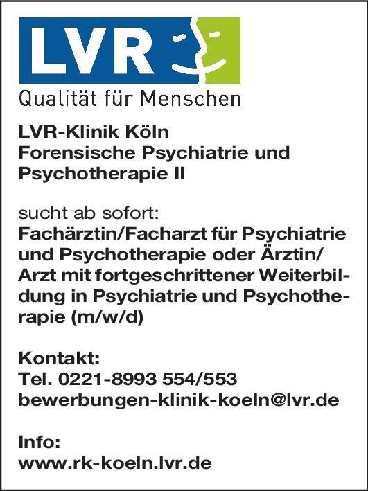 LVR-Klinik Köln Fachärztin/Facharzt für Psychiatrie und Psychotherapie oder Ärztin/Ärztin mit fortgeschrittener Weiterbildung in Psychiatrie und Psychotherapie (m/w/d)  Psychiatrie und Psychotherapie, Psychiatrie und Psychotherapie Arzt / Facharzt, Assistenzarzt / Arzt in Weiterbildung