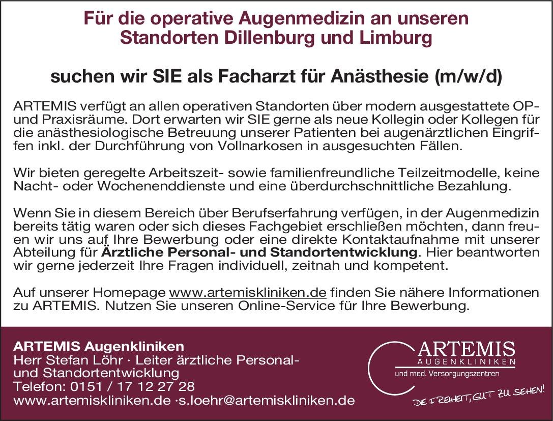 Artemis Augenkliniken Facharzt für Anästhesie (m/w/d) Anästhesiologie / Intensivmedizin Arzt / Facharzt