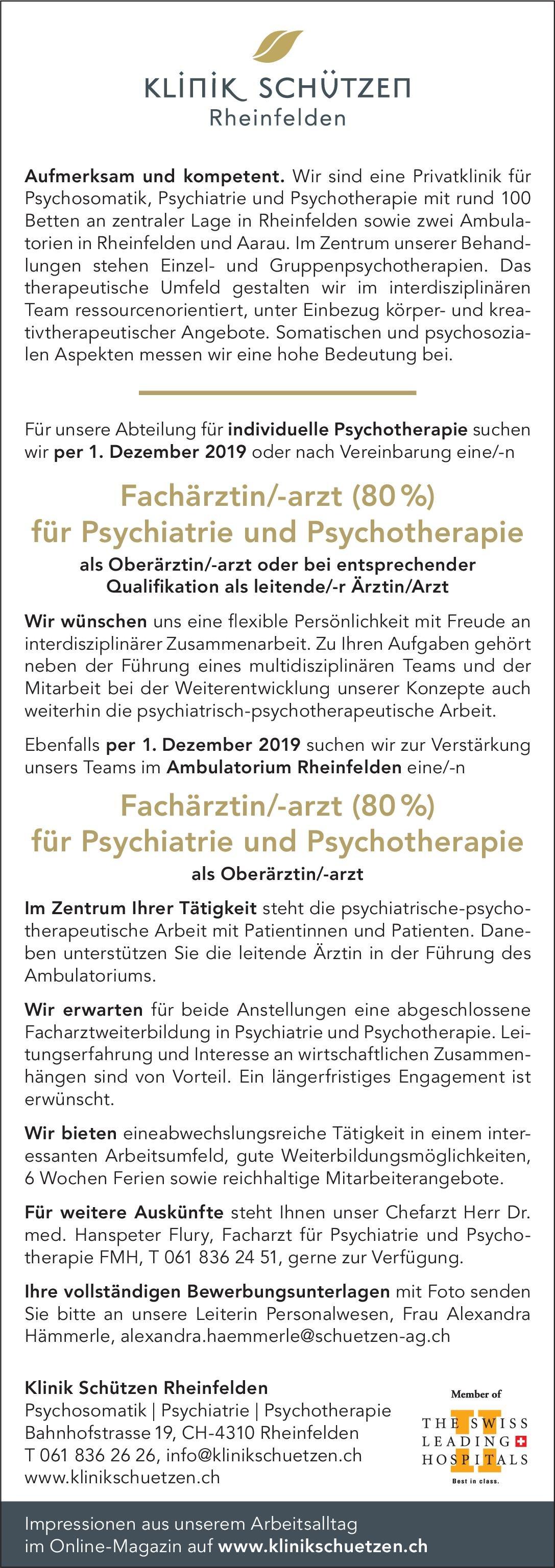 Klinik Schützen Rheinfelden Fachärztin/-arzt (80%) für Psychiatrie und Psychotherapie als Oberärztin/-arzt  Psychiatrie und Psychotherapie, Psychiatrie und Psychotherapie Arzt / Facharzt
