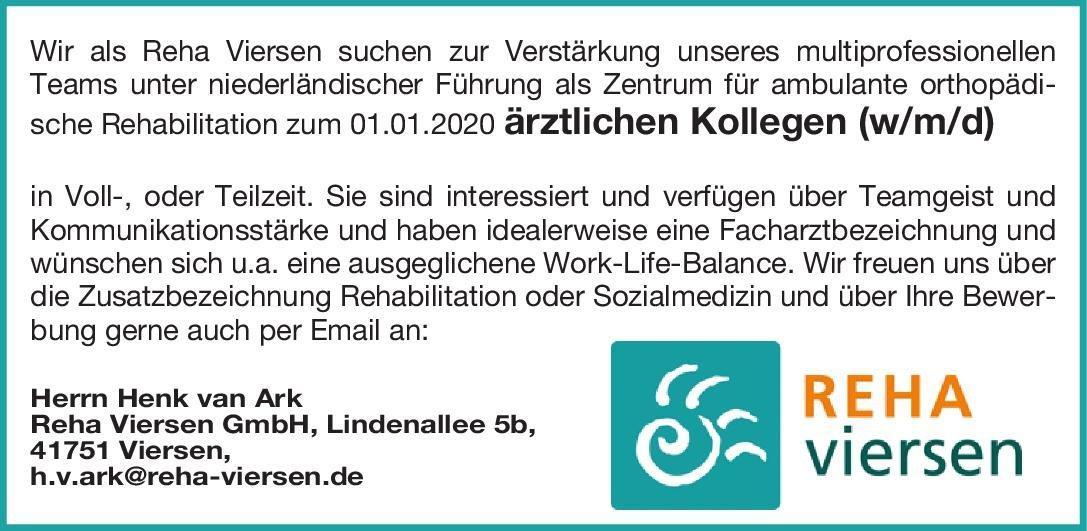Reha Viersen GmbH Ärztlicher Kollege (w/m/d)  Orthopädie und Unfallchirurgie, Chirurgie, Physikalische- und Rehabilitative Medizin Arzt / Facharzt