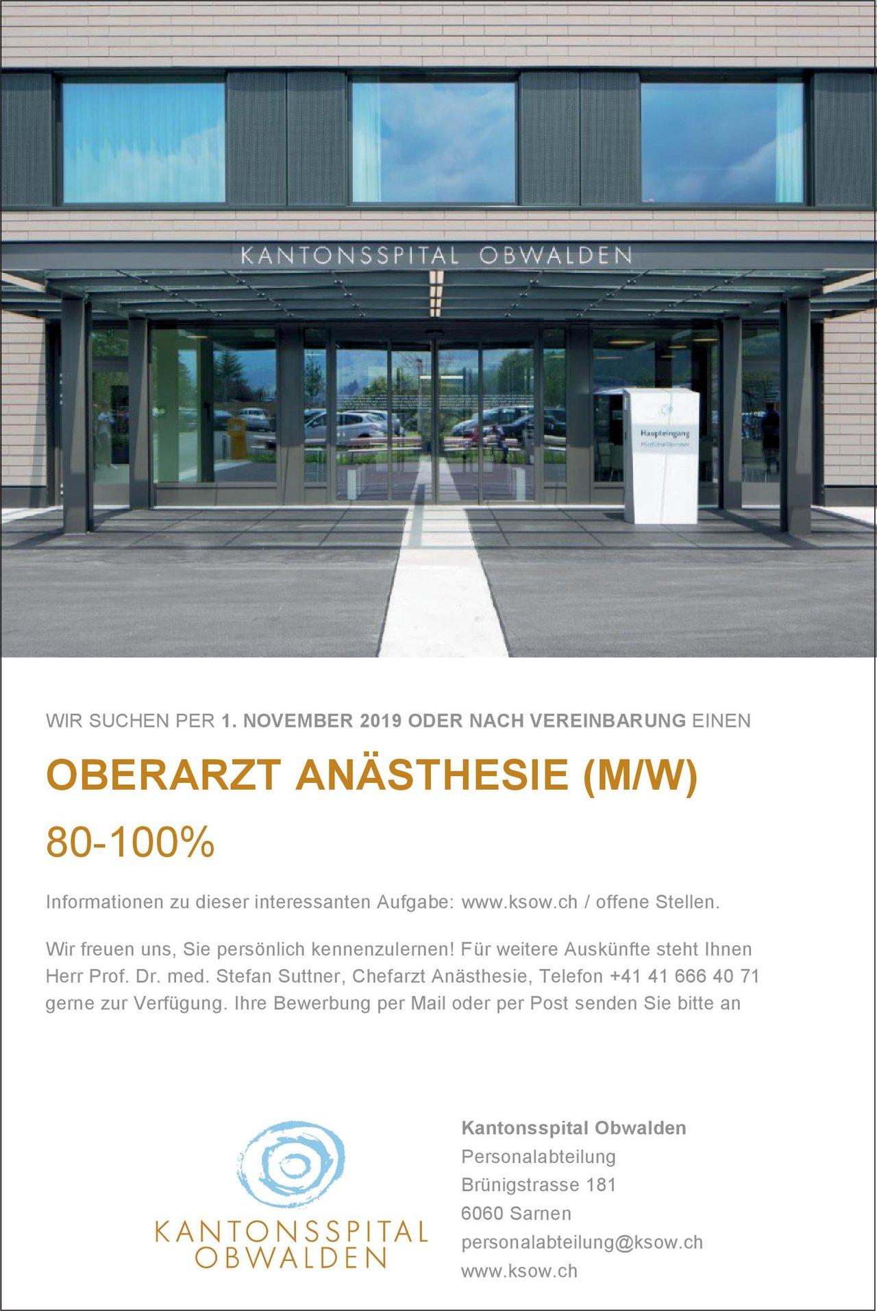 Kantonsspital Obwalden Oberarzt Anästhesie (m/w) 80-100 % Anästhesiologie / Intensivmedizin Oberarzt