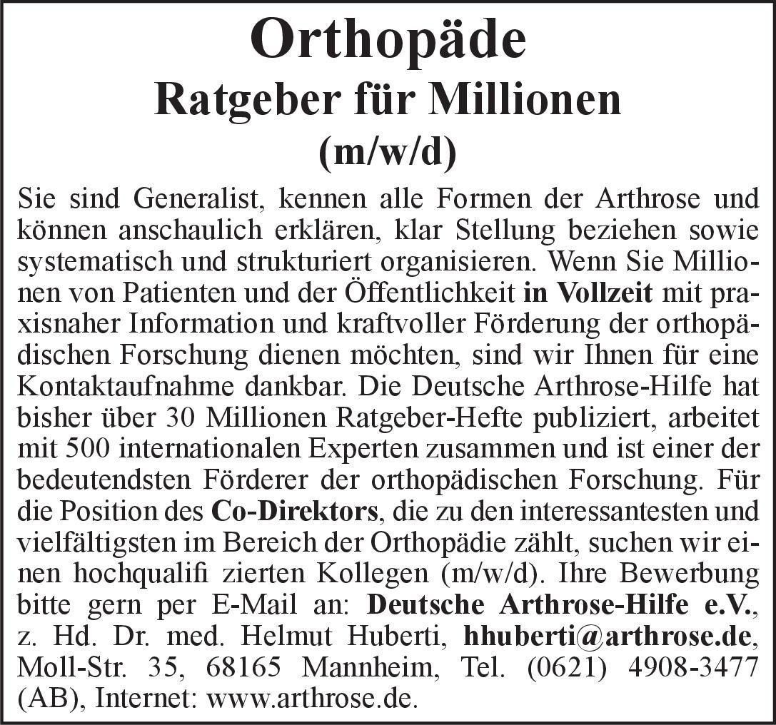 Deutsche Arthrose-Hilfe e.V. Orthopäde (m/w/d  Orthopädie und Unfallchirurgie Arzt / Facharzt
