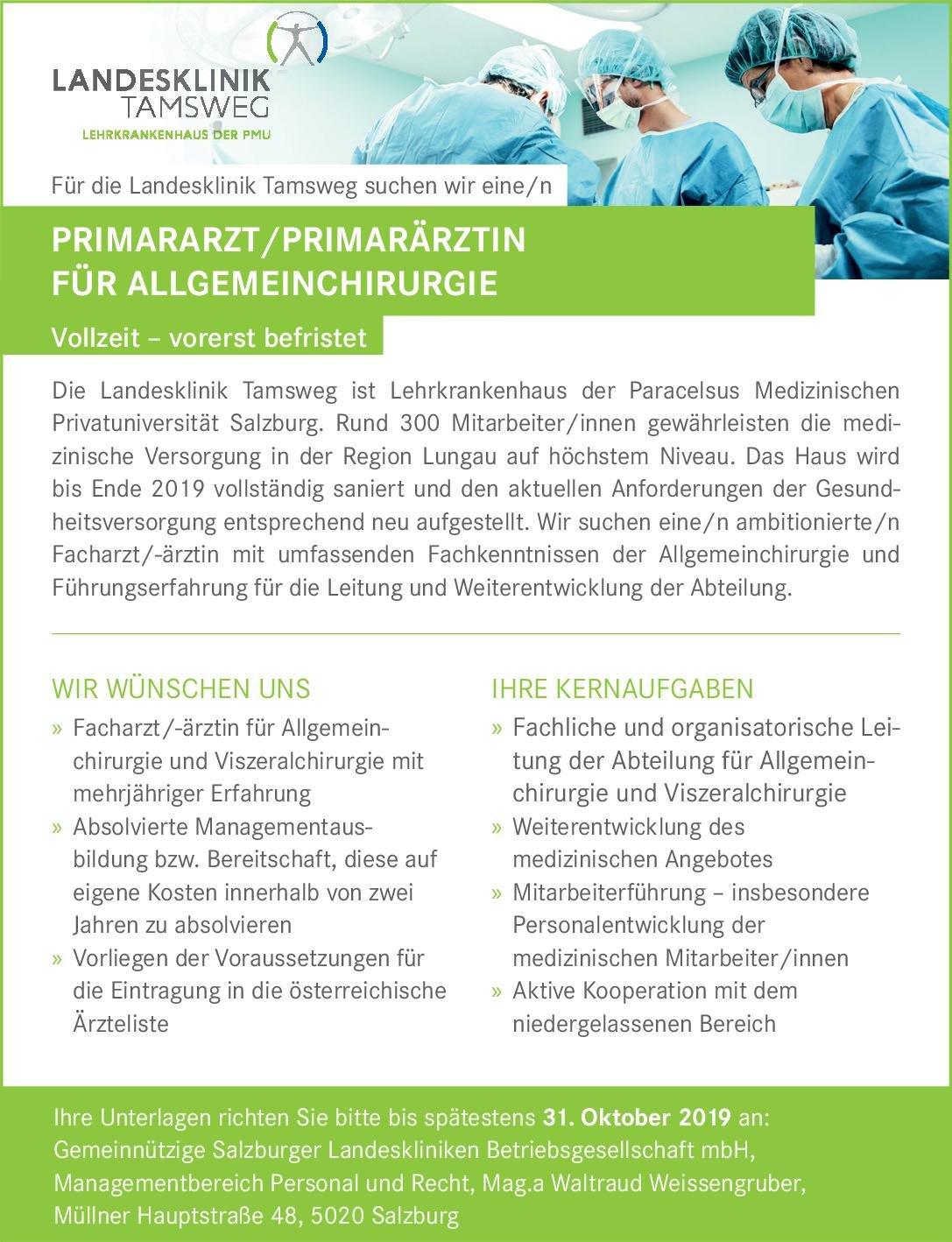 Gemeinnützige Salzburger Landeskliniken Betriebsgesellschaft mbH Primararzt/Primarärztin für Allgemeinchirurgie