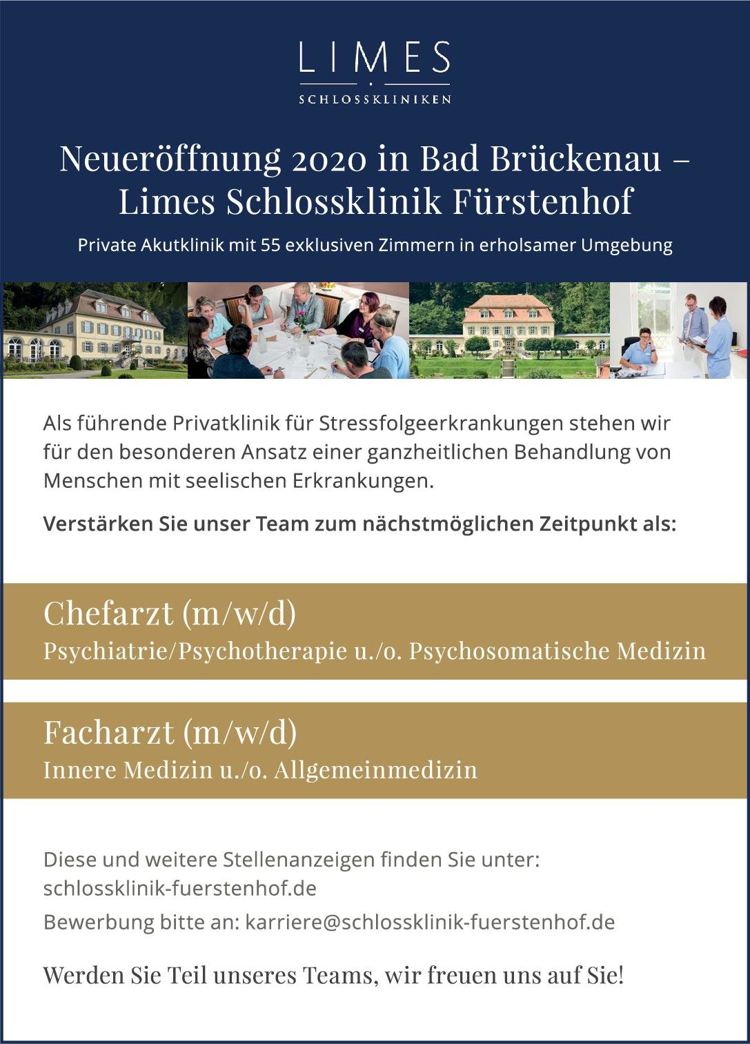 Limes Schlossklinik Fürstenhof Facharzt (m/w/d) Innere Medizin u./o. Allgemeinmedizin  Innere Medizin, Allgemeinmedizin, Innere Medizin Arzt / Facharzt