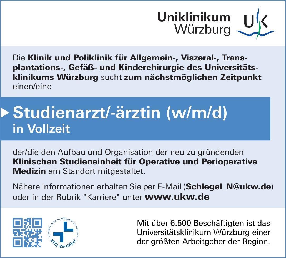 Universitätsklinikum Würzburg Studienarzt/-ärztin (w/m/d)  Allgemeinchirurgie, Gefäßchirurgie, Kinderchirurgie Arzt / Facharzt