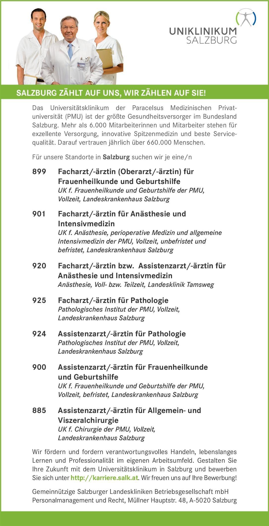 Gemeinnützige Salzburger Landeskliniken Facharzt/-ärztin für Anästhesie und Intensivmedizin Anästhesiologie / Intensivmedizin Arzt / Facharzt