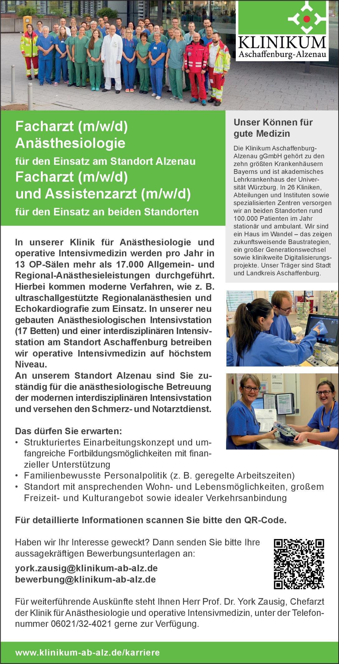 Klinikum Aschaffenburg-Alzenau gGmbH Facharzt (m/w/d) und Assistenzarzt (m/w/d) Anästhesiologie / Intensivmedizin Arzt / Facharzt, Assistenzarzt / Arzt in Weiterbildung