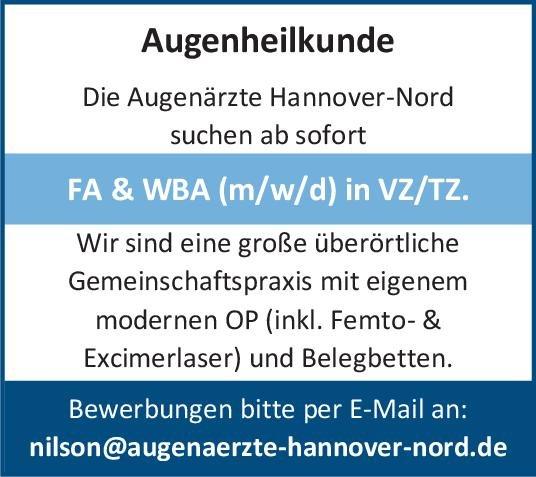 Augenärzte Hannover-Nord FA & WBA (m/w/d) in VZ/TZ Augenheilkunde Arzt / Facharzt, Assistenzarzt / Arzt in Weiterbildung