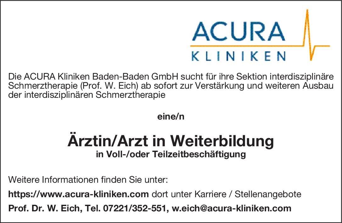 ACURA Kliniken Ärztin/Arzt in Weiterbildung Anästhesiologie / Intensivmedizin Assistenzarzt / Arzt in Weiterbildung