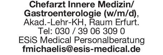 ESIS Medical Personalberatung Chefarzt Innere Medizin/Gastroenterologie (w/m/d)  Innere Medizin und Gastroenterologie, Innere Medizin Chefarzt