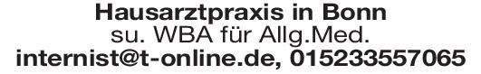 Hausarztpraxis Weiterbildungsassistent Allgemeinmed. Allgemeinmedizin Assistenzarzt / Arzt in Weiterbildung