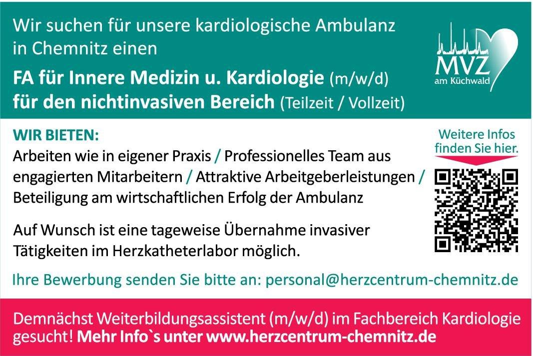 MVZ am Küchwald FA für Innere Medizin u. Kardiologie (m/w/d) für den nichtinvasiven Bereich  Innere Medizin und Kardiologie, Innere Medizin Arzt / Facharzt
