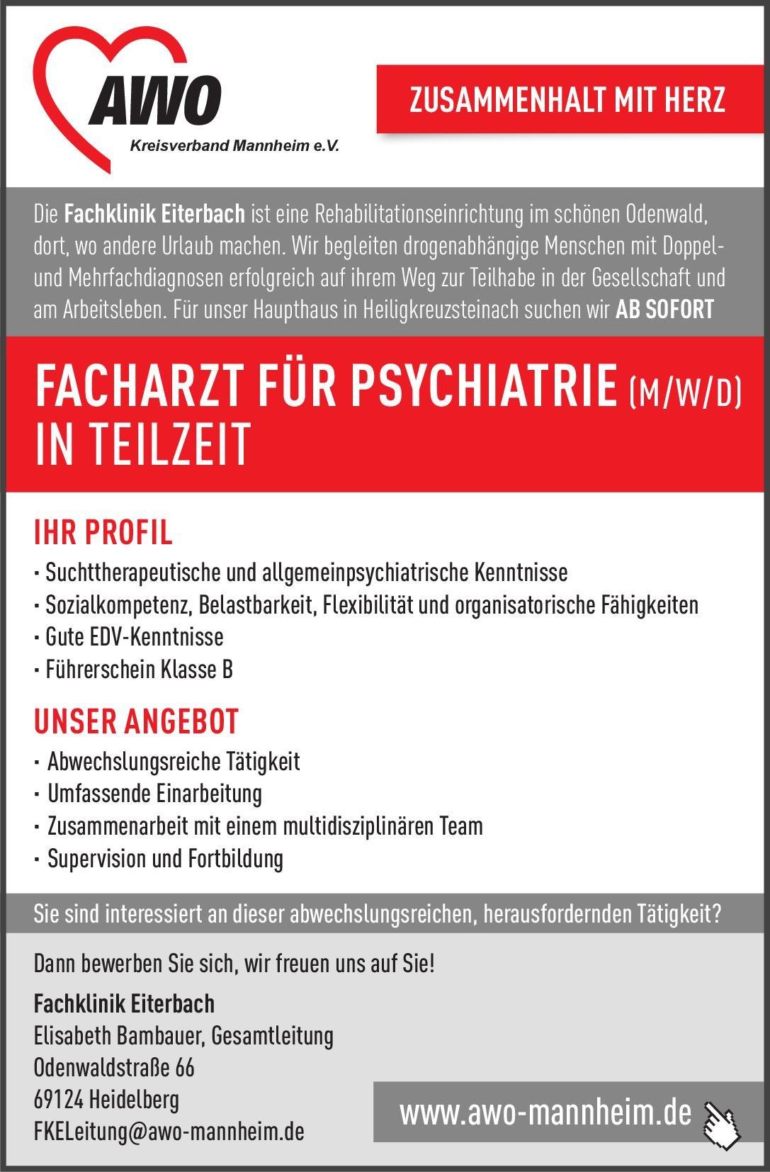 Fachklinik Eiterbach Facharzt für Psychiatrie (m/w/d)  Psychiatrie und Psychotherapie, Psychiatrie und Psychotherapie Arzt / Facharzt