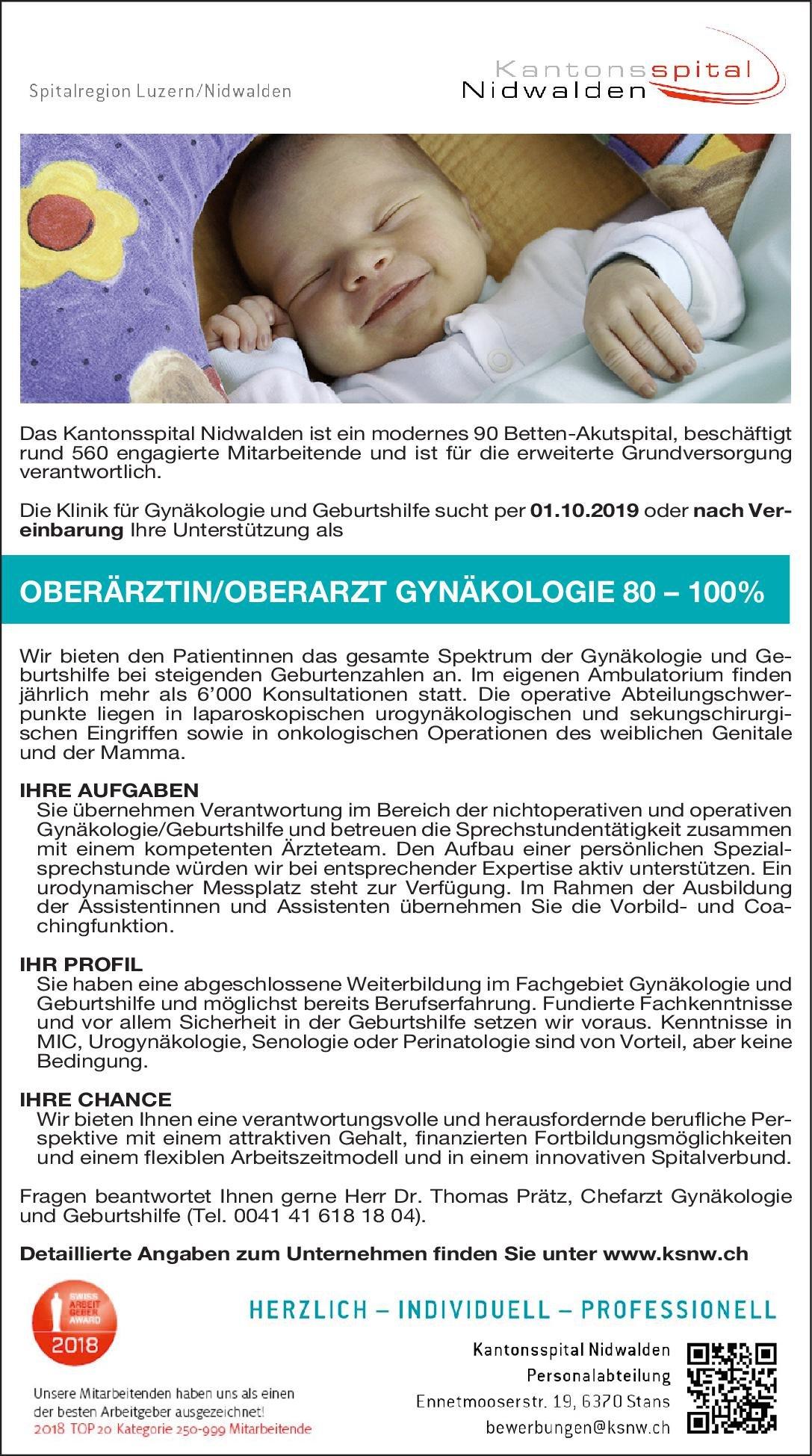 Kantonsspital Nidwalden Oberärztin/Oberarzt Gynäkologie 80-100%  Frauenheilkunde und Geburtshilfe, Frauenheilkunde und Geburtshilfe Oberarzt