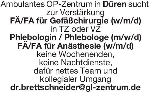 Ambulantes OP-Zentrum Phlebologin / Phlebologe (m/w/d)  Gefäßchirurgie, Chirurgie Arzt / Facharzt