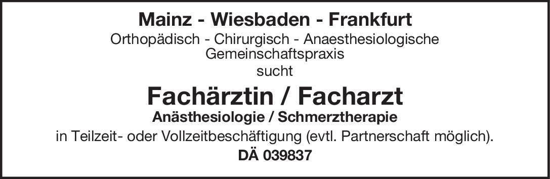 Praxis Fachärztin / Facharzt - Anästhesiologie / Schmerztherapie Anästhesiologie / Intensivmedizin Arzt / Facharzt