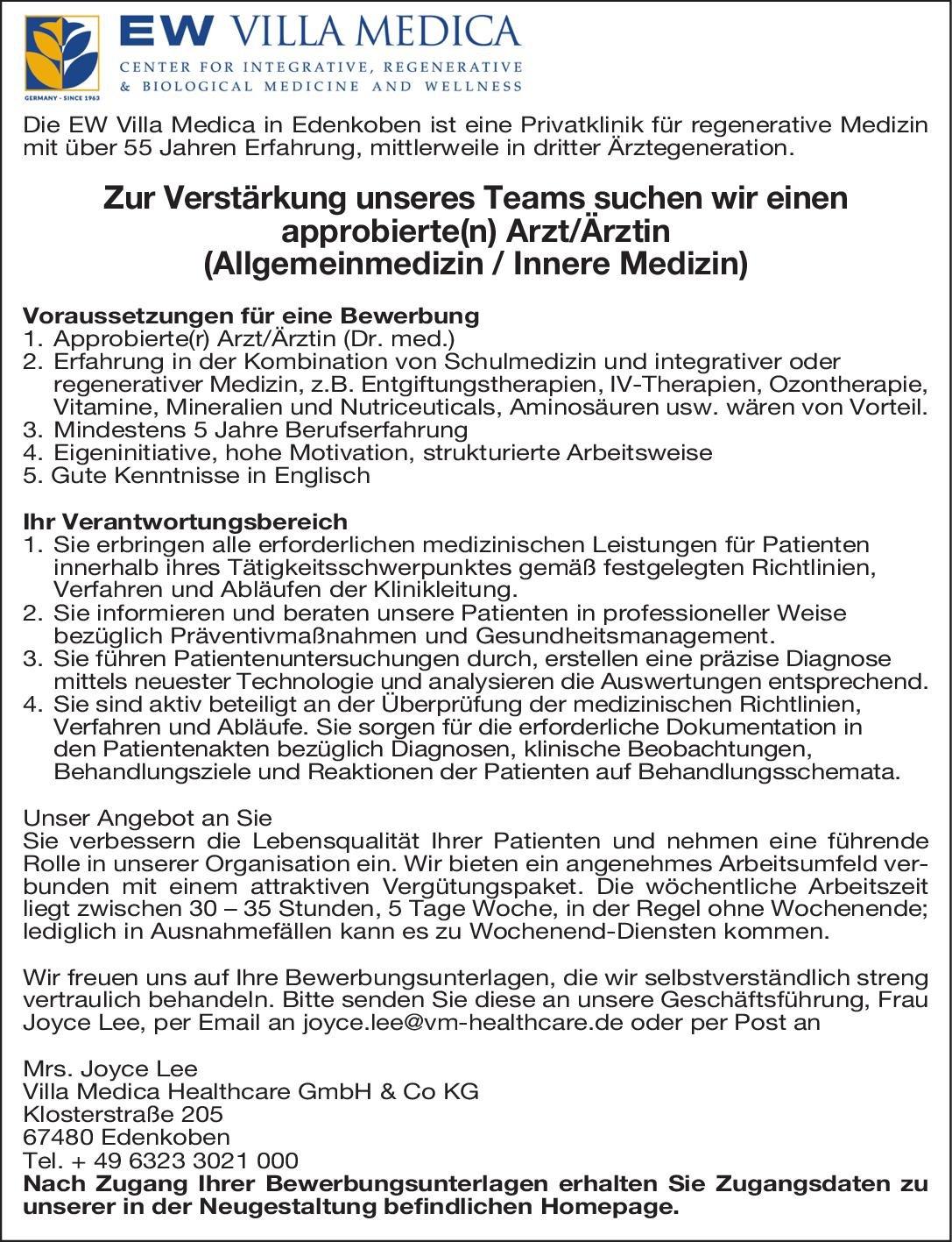 Villa Medica Healthcare GmbH & Co KG Arzt/Ärztin (Allgemeinmedizin / Innere Medizin)  Innere Medizin, Allgemeinmedizin, Innere Medizin Arzt / Facharzt