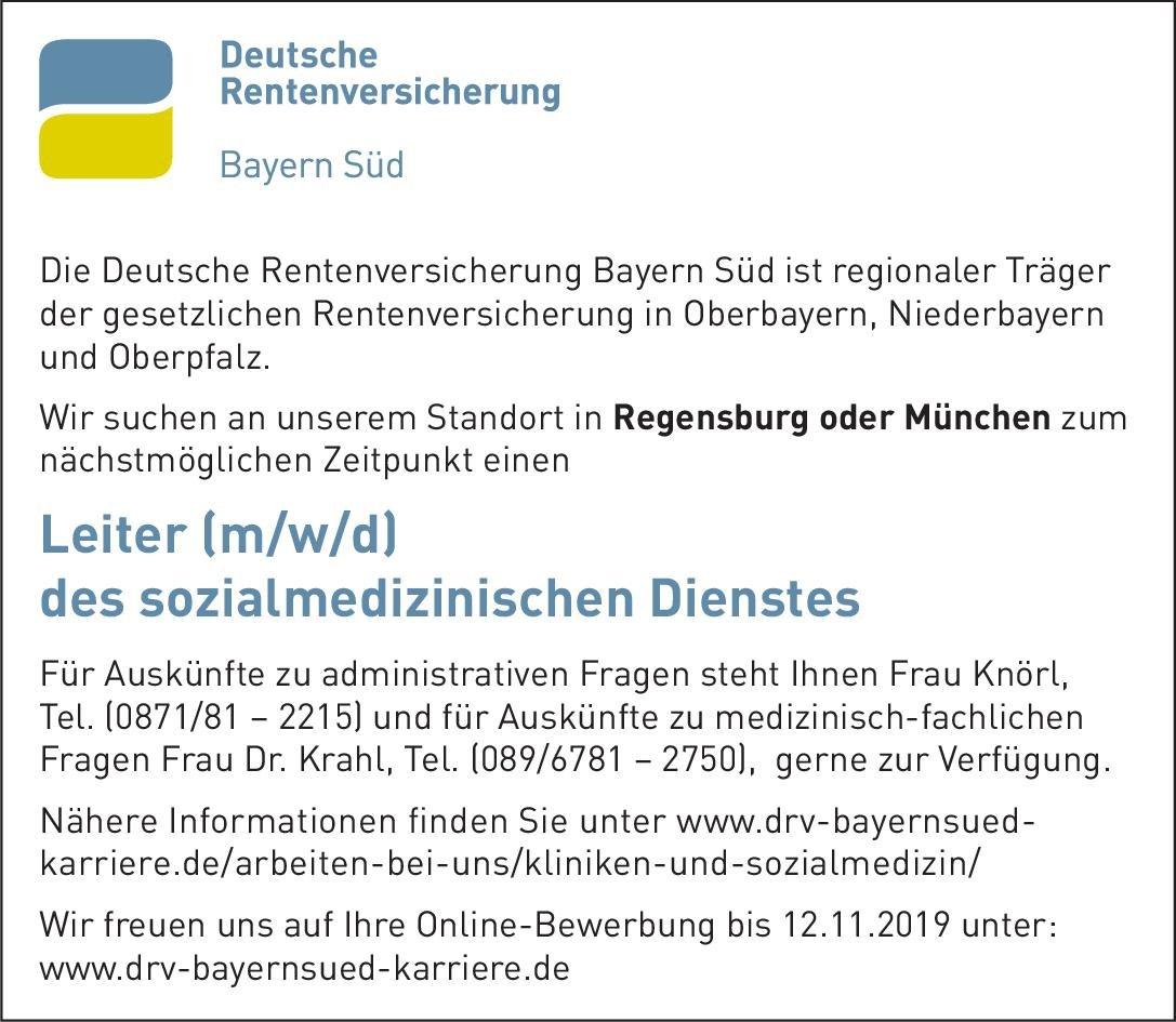 Deutsche Rentenversicherung Bayern Süd Leiter (m/w/d) des sozialmedizinischen Dienstes * ohne Gebiete, Öffentliches Gesundheitswesen Arzt / Facharzt