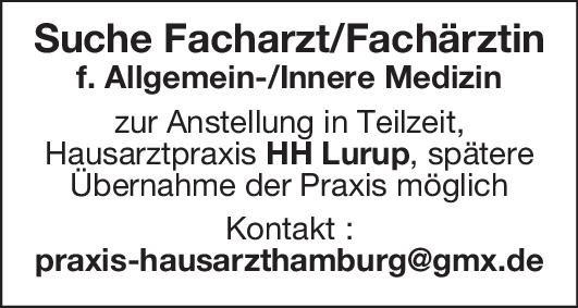 Hausarztpraxis Facharzt/Fachärztin - Allgemein-/Innere Medizin  Innere Medizin, Allgemeinmedizin, Innere Medizin Arzt / Facharzt