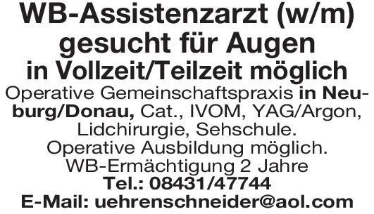 Operative Gemeinschaftspraxis WB-Assistenzarzt (w/m) Augen Augenheilkunde Arzt / Facharzt