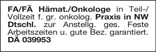 Praxis Facharzt/-ärztin Hämatologe/Onkologe  Innere Medizin und Hämatologie und Onkologie, Innere Medizin Arzt / Facharzt