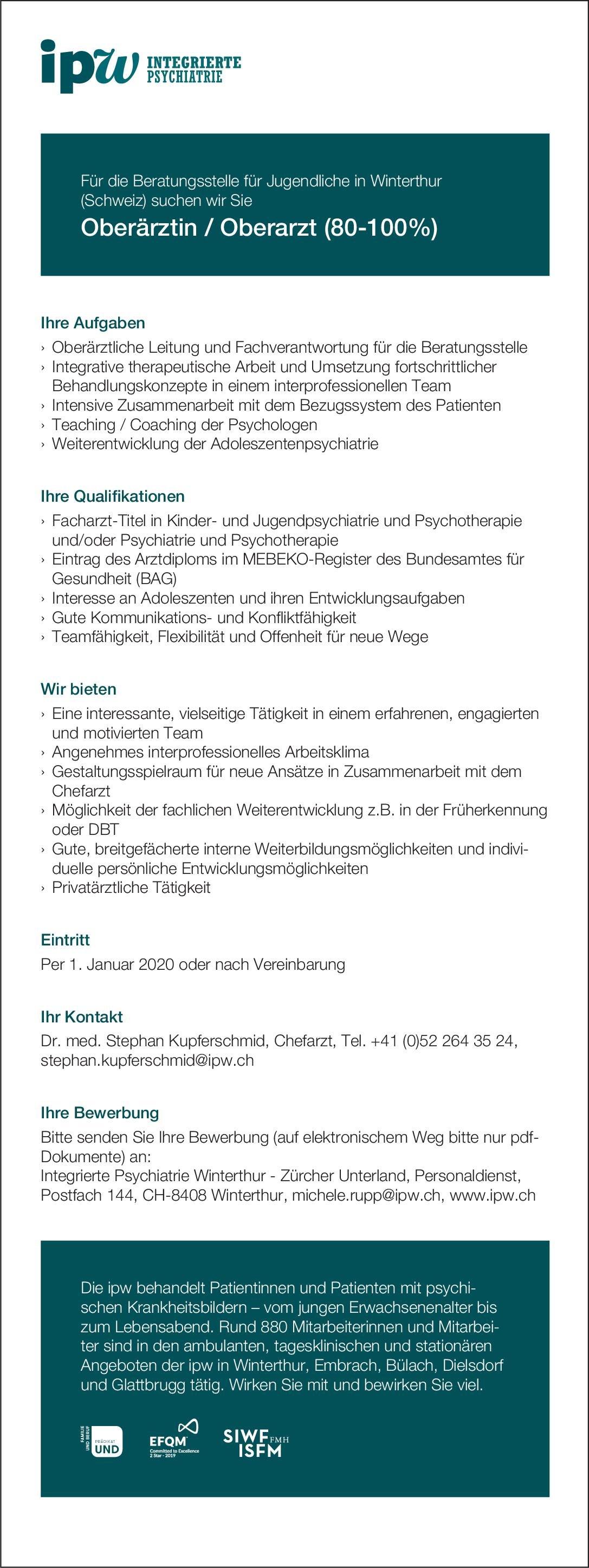 Integrierte Psychiatrie Winterthur - Zürcher Unterland Oberärztin / Oberarzt (80-100%)  Psychiatrie und Psychotherapie, Kinder- und Jugendpsychiatrie und -psychotherapie, Psychiatrie und Psychotherapie Oberarzt