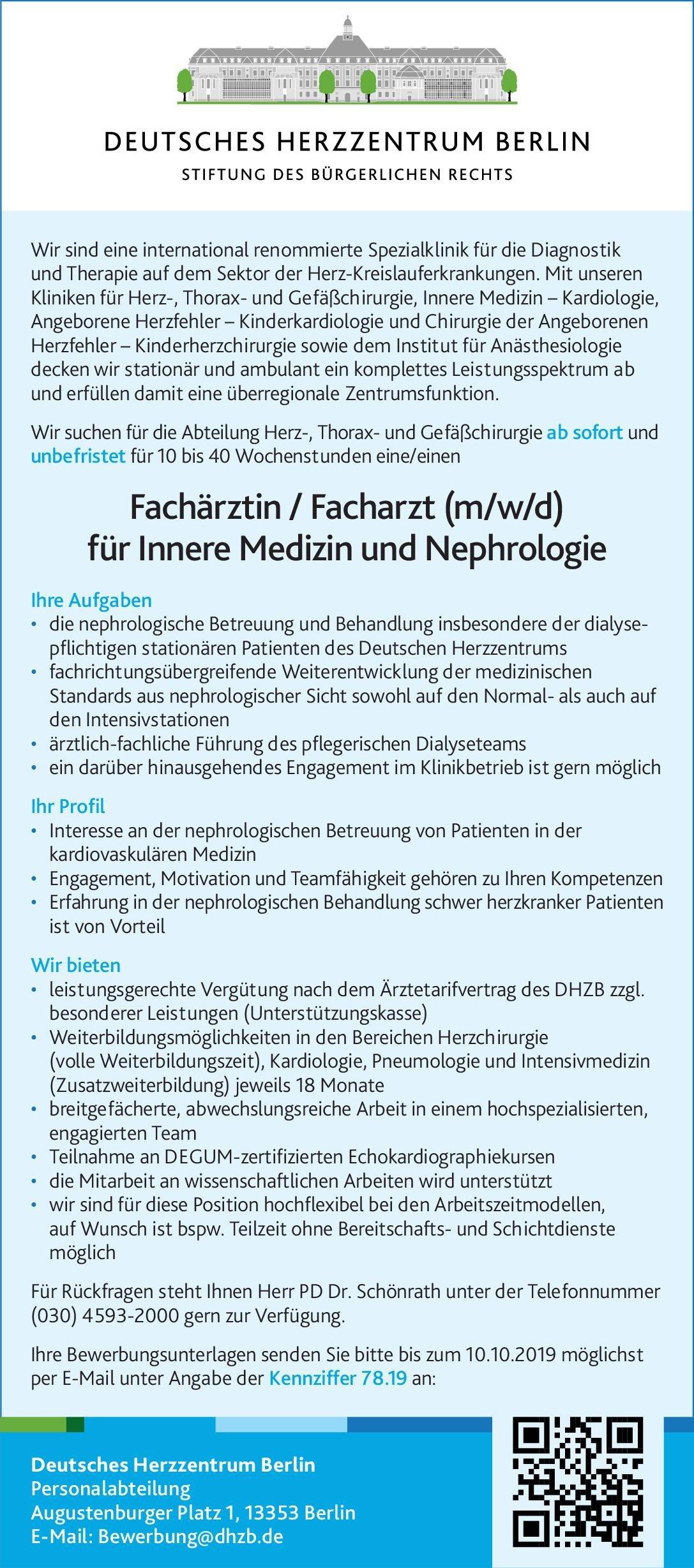 Deutsches Herzzentrum Berlin Fachärztin / Facharzt (m/w/d) für Innere Medizin und Nephrologie  Innere Medizin, Innere Medizin Arzt / Facharzt