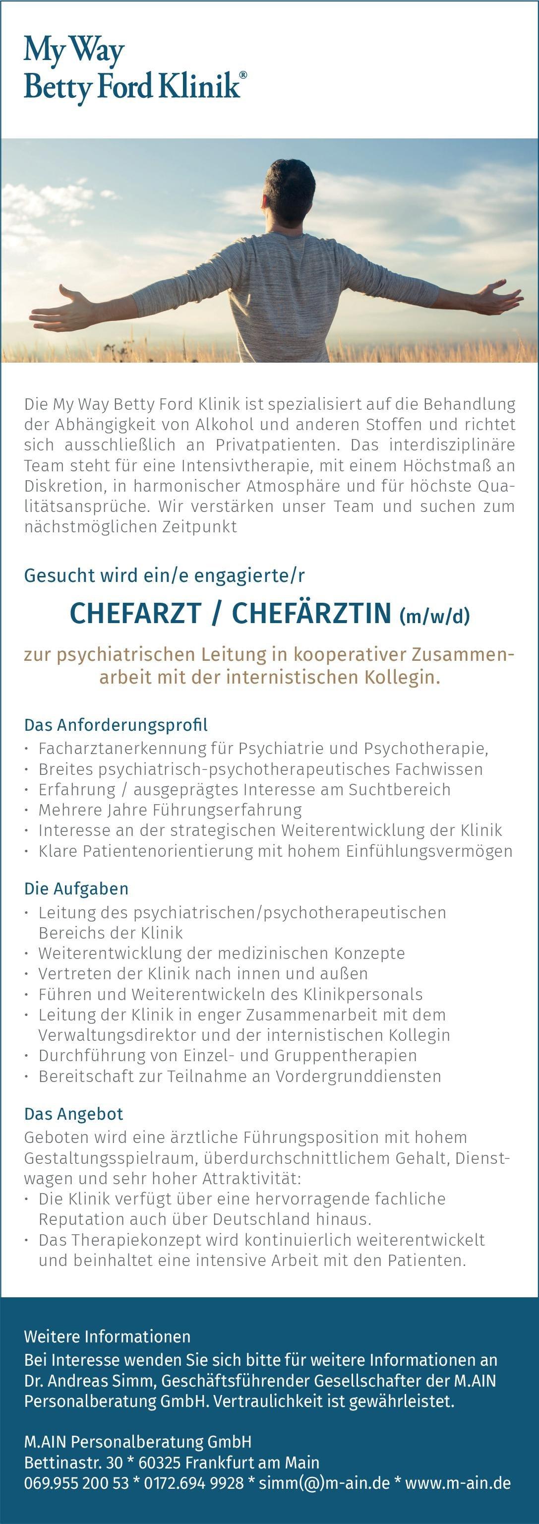 My Way Betty Ford Klinik Chefarzt / Chefärztin (m/w/d) zur psychiatrischen Leitung in kooperativer Zusammenarbeit mit der internistischen Kollegin  Psychiatrie und Psychotherapie, Psychiatrie und Psychotherapie Chefarzt