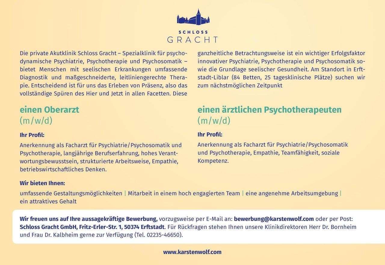 Schloss Gracht GmbH Oberarzt (m/w/d)  Psychiatrie und Psychotherapie, Psychiatrie und Psychotherapie Oberarzt