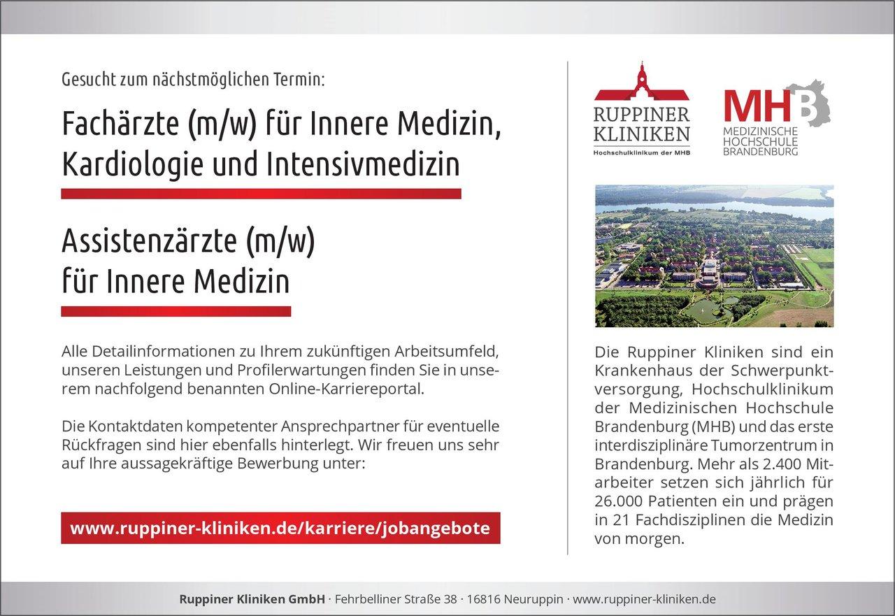 Ruppiner Kliniken GmbH Fachärzte (m/w) für Innere Medizin, Kardiologie und Intensivmedizin  Innere Medizin und Kardiologie, Innere Medizin Arzt / Facharzt
