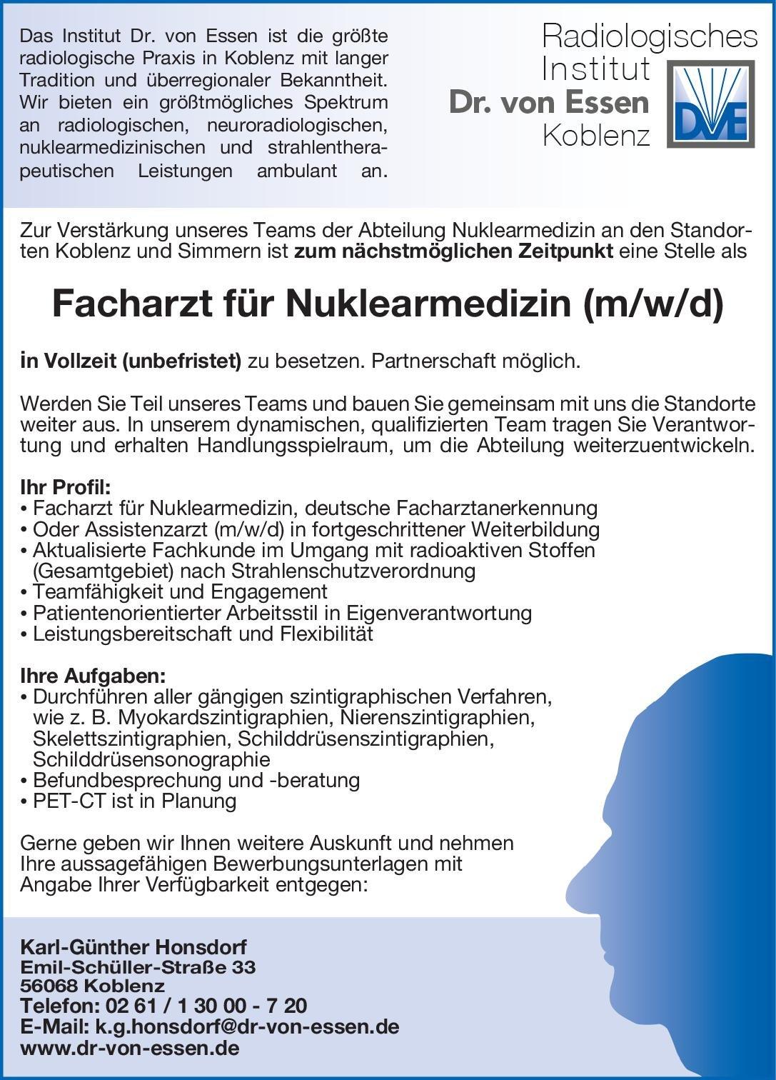 Radiologisches Institut Dr. von Essen Facharzt für Nuklearmedizin (m/w/d) Nuklearmedizin Arzt / Facharzt
