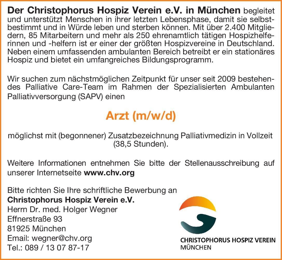 Christophorus Hospiz Verein e.V. Arzt (m, w, d) Palliativmedizin Palliativmedizin Arzt / Facharzt