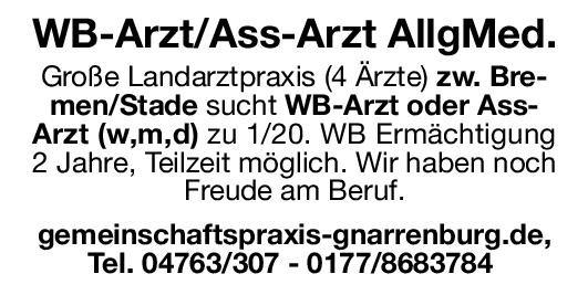Praxis WB-Arzt oder Ass-Arzt (w,m,d) - Allgemeinmedizin Allgemeinmedizin Assistenzarzt / Arzt in Weiterbildung